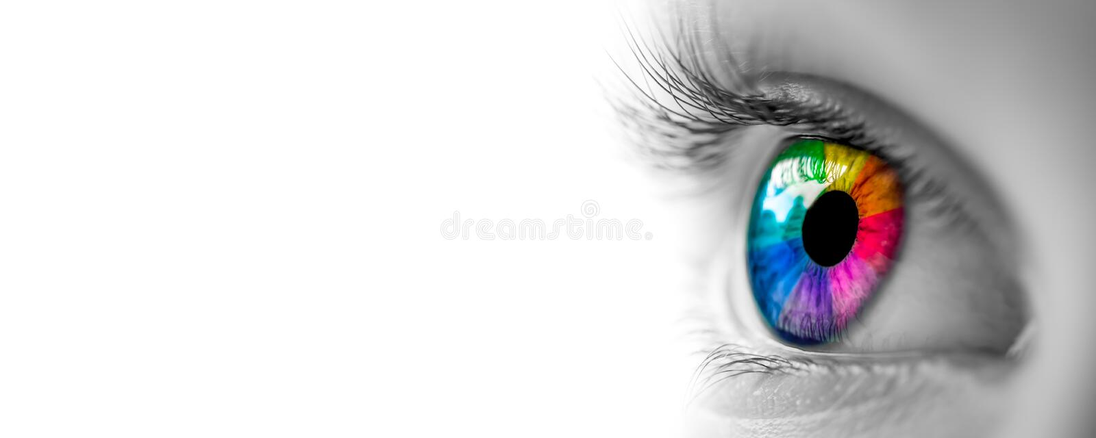 Black & White With Rainbow Eye royalty free stock photography