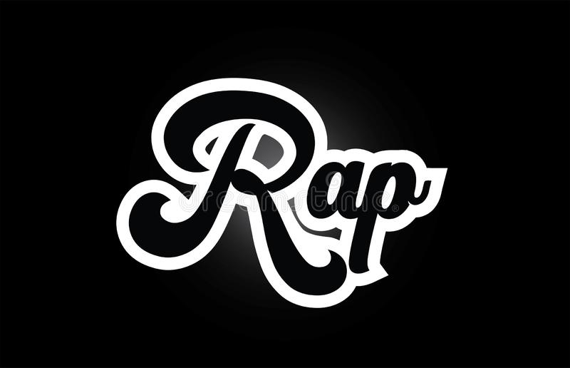 Black and white Rap hand written word text for typography logo icon design. Rap hand written word text for typography iocn design in black and white color. Can stock illustration
