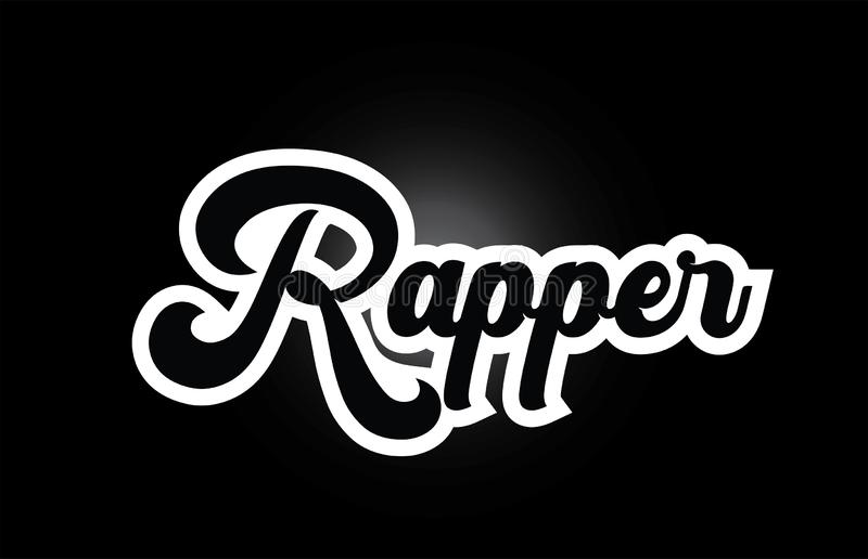 Black and white Rapper hand written word text for typography logo icon design. Rapper hand written word text for typography iocn design in black and white color vector illustration