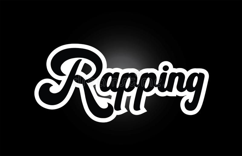 Black and white Rapping hand written word text for typography logo icon design. Rapping hand written word text for typography iocn design in black and white stock illustration