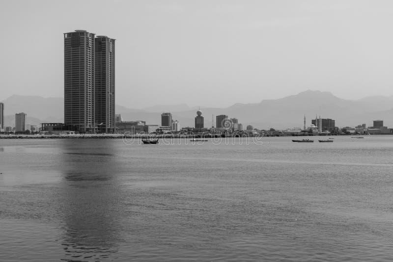 Black and White Ras al Khaimah, United Arab Emirates along Corniche royalty free stock images