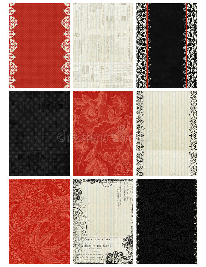 Black, White, Red Artist Trading Card Backgrounds. Set of nine black, white and red artist trading card backgrounds, each sized at 2.5x3.5 inches royalty free stock photo