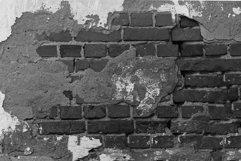 black and white, Red brick masonry, Texture of the old brick wall. stock image