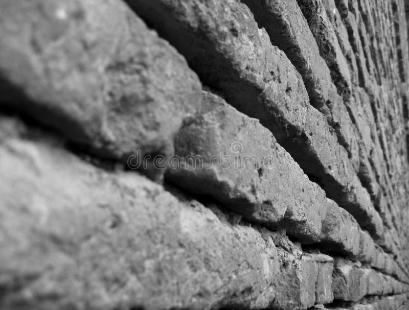 Black white red brick wall texture. Horizontal view. closeup of aged brick wall stock photo