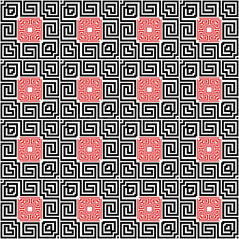Black white red checkered greek vector seamless pattern. Ornamental geometric modern background. Repeat decorative royalty free illustration