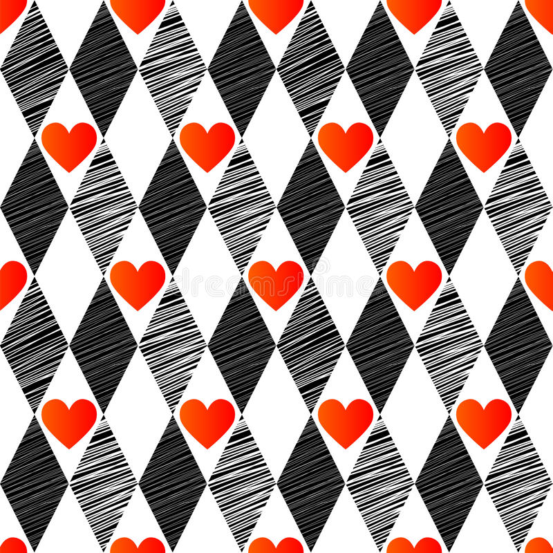 Seamless Background With Rhombus And Hearts, Stock Images