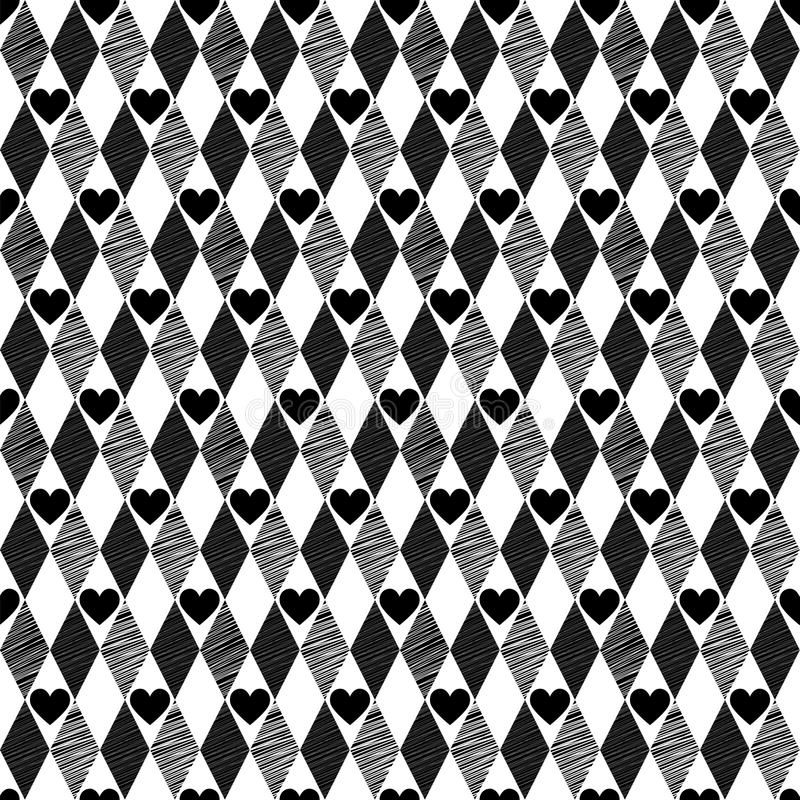 Download Black Seamless Background With Rhombus And Hearts Stock Vector - Image: 29939199