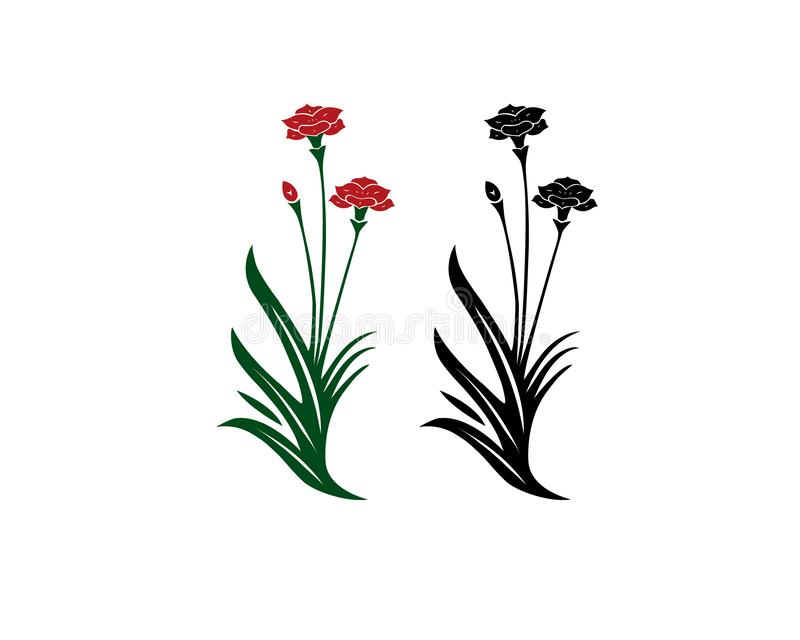 Black white and red Orchid on a long stem in stock illustration