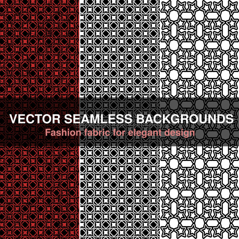 Black white red seamless pattern background. Fashion fabric for elegant design. Abstract geometric frames. Stylish decorative labe vector illustration