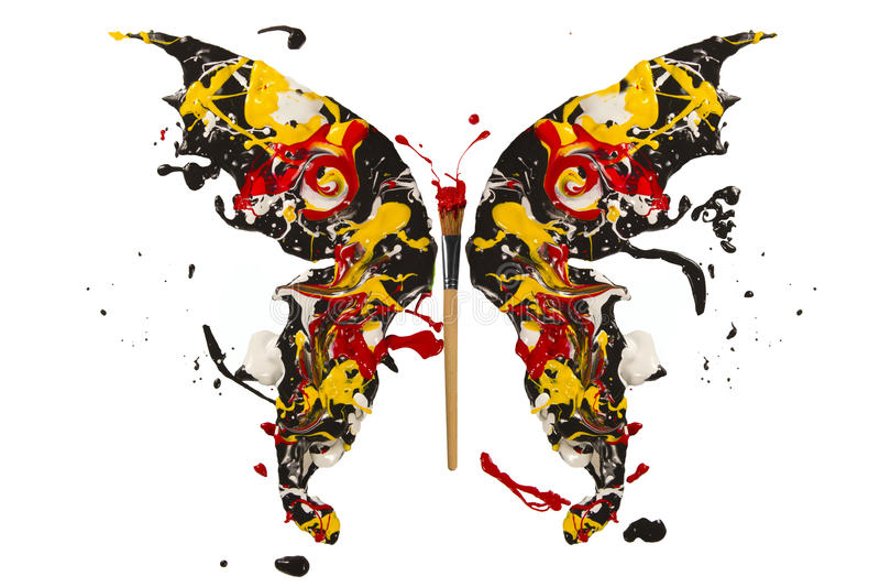 Black white red yellow paint splash madel butterfly stock illustration