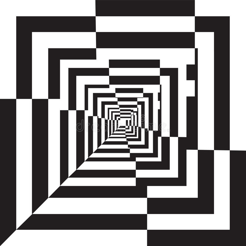 A black and white relief tunnel.