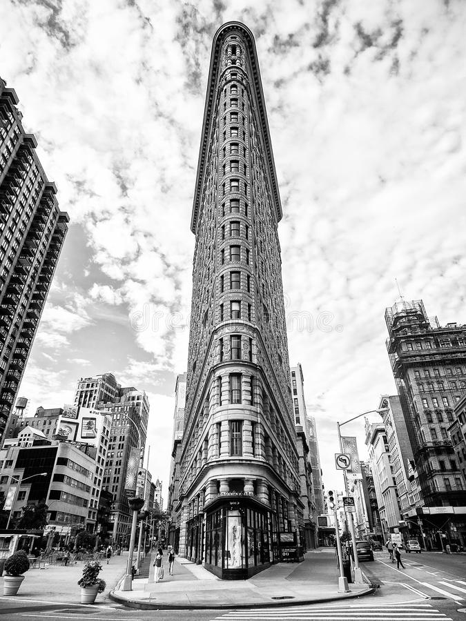 Flatiron building in Manhattan, New York City (black and white) stock photography