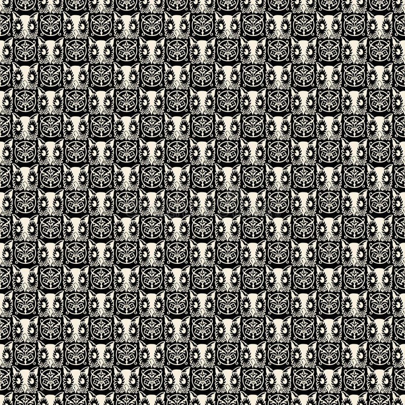 Black and white repeatable Halloween owl pattern. A black and white Halloween repeatable owl head pattern or design - seamless vector illustration