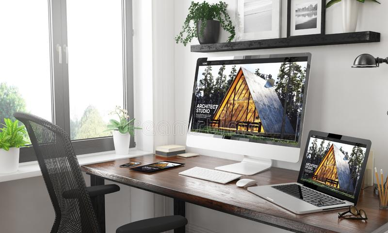 Black and white responsive devices mockup responsive architect w. Black and white home office with responsive devices architect website3d rendering royalty free stock photos