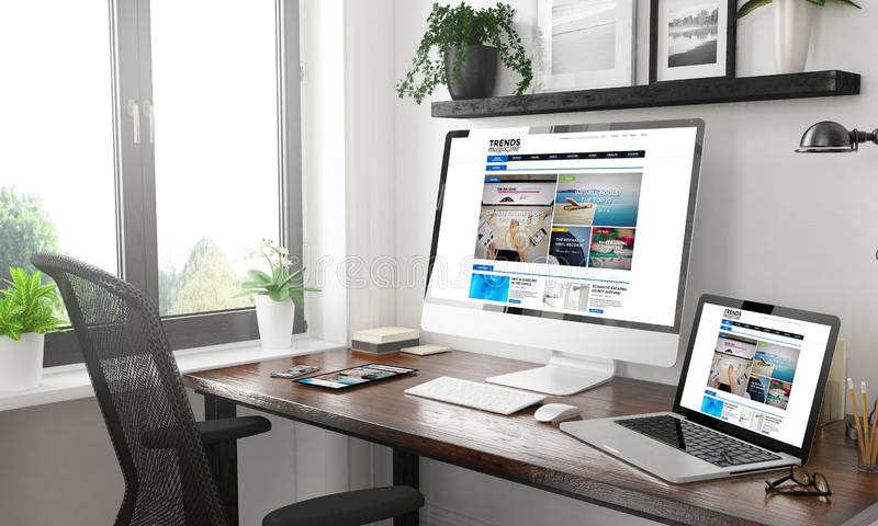Black and white responsive devices mockup responsive e-magazine. Black and white home office with responsive devices e-magazine 3d rendering royalty free stock photos