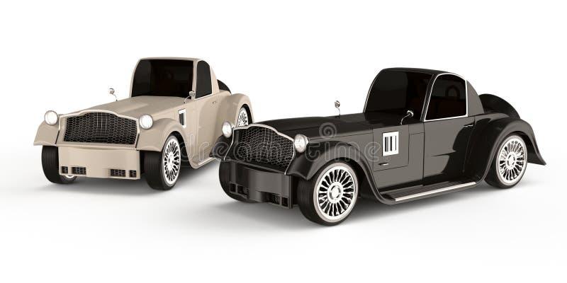 Black and white retro cars