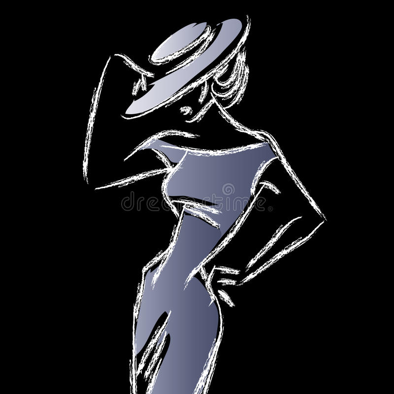 Black and white retro fashion model in sketch style. Hand drawn royalty free illustration