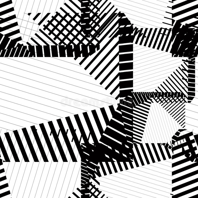 Black and white rhythmic textured endless pattern, continuous gr stock illustration
