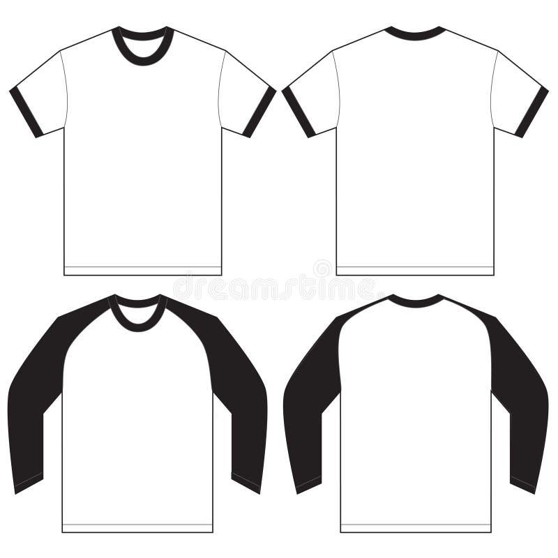 Black White Ringer T-Shirt Design Template Stock Vector