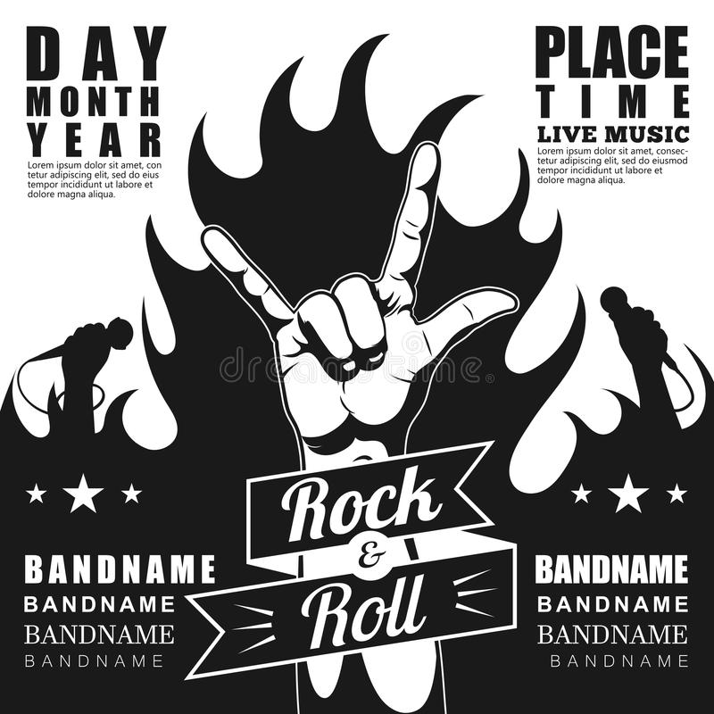 Download black and white rock festival poster with rock n roll sign and fire
