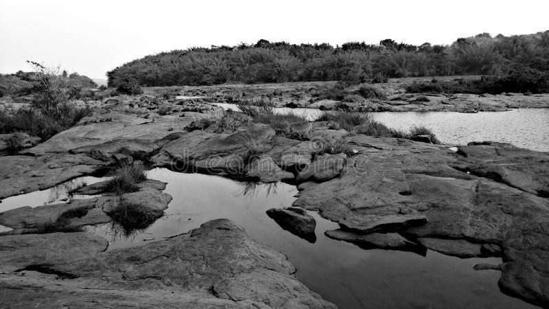 Black and White Rocks stock photo