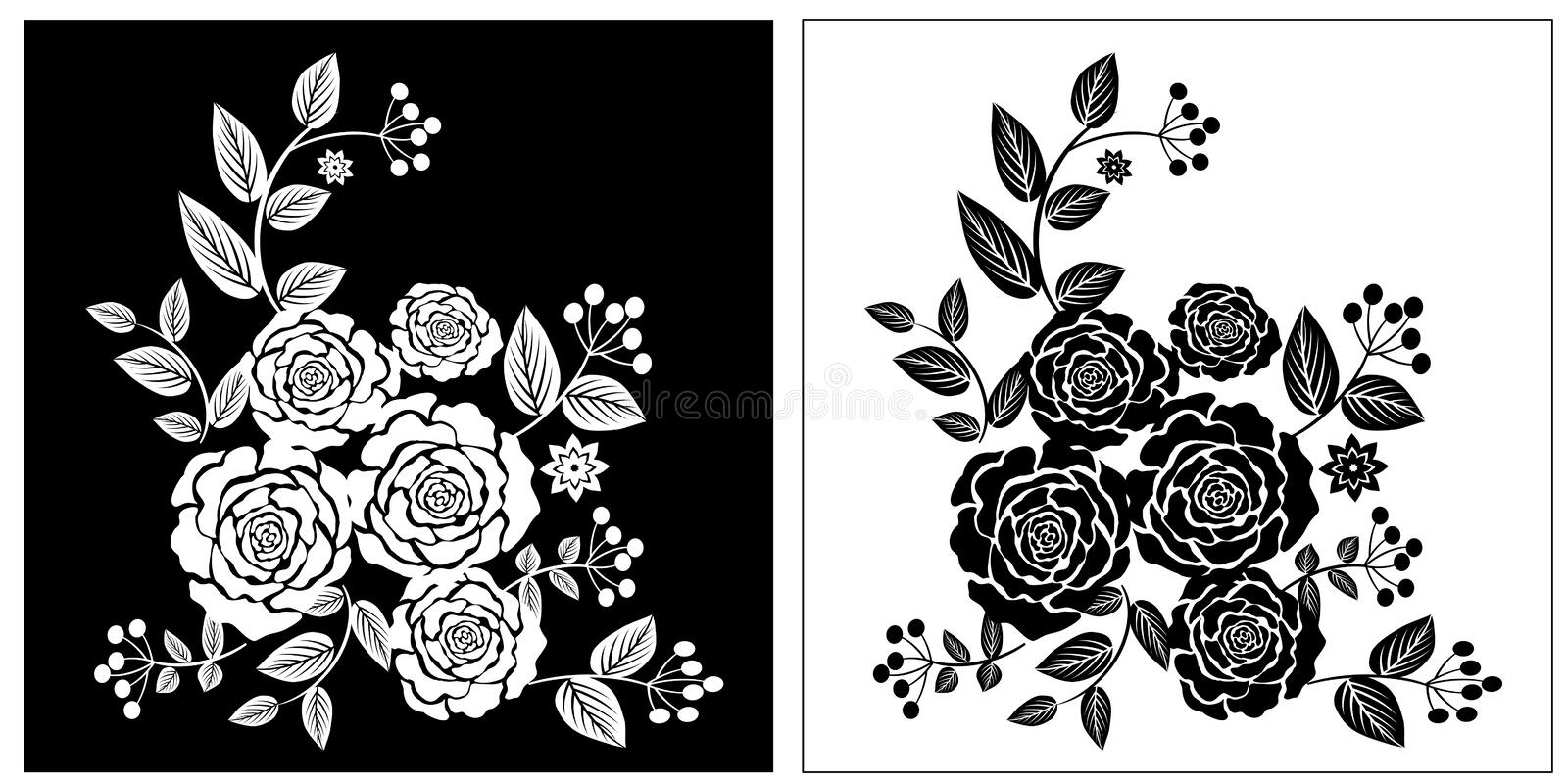 Black White Rose flowers. Black and White Retro Flowers card template royalty free illustration