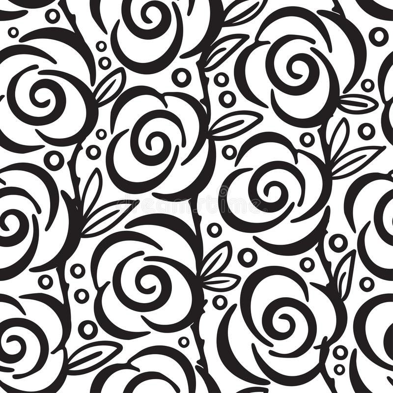 Black and white rose flowers seamless digital hand drawn ink pattern. Poster with different doodles for fabric, wrapping. Decoration, greeting card, textiles vector illustration