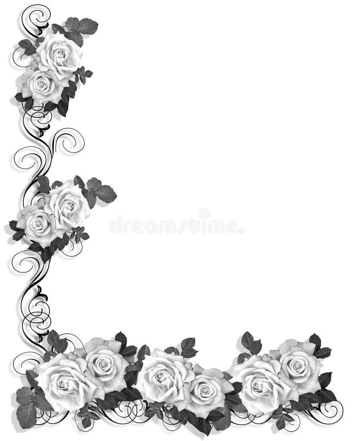 black and white roses border design stock illustration