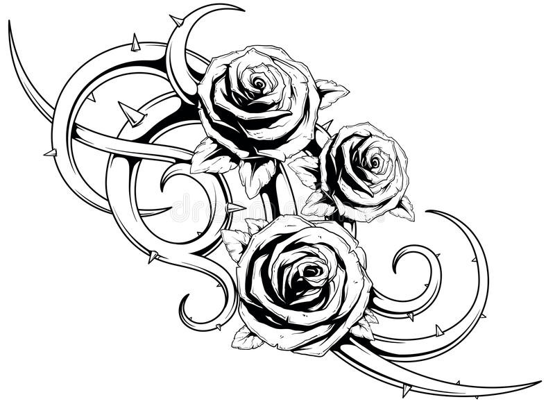 Black and white roses tatto vector illustration