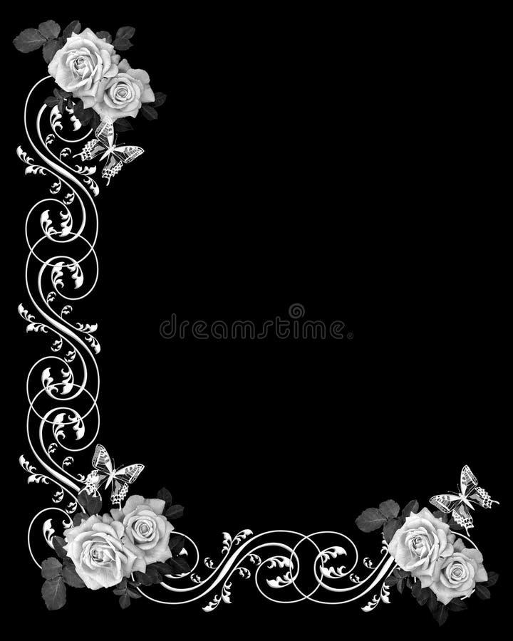 Black and White roses Wedding Invitation vector illustration