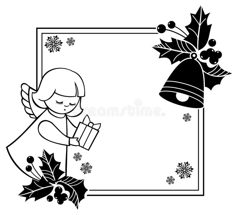 Download Black And White Rouen Christmas Frame With Cute Angels Copy Spa Stock Illustration