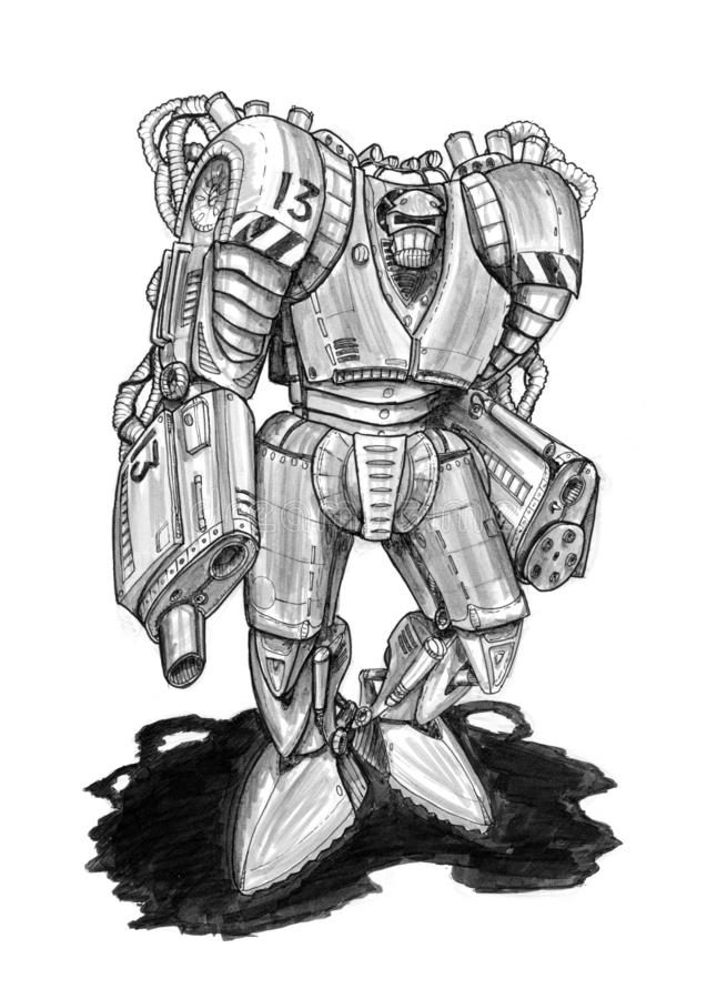 Black Grunge Rough Ink Sketch of Dangerous Armed Robot Soldier. Black and white rough ink sketch of dangerous armed and armored robot or robotic soldier with vector illustration