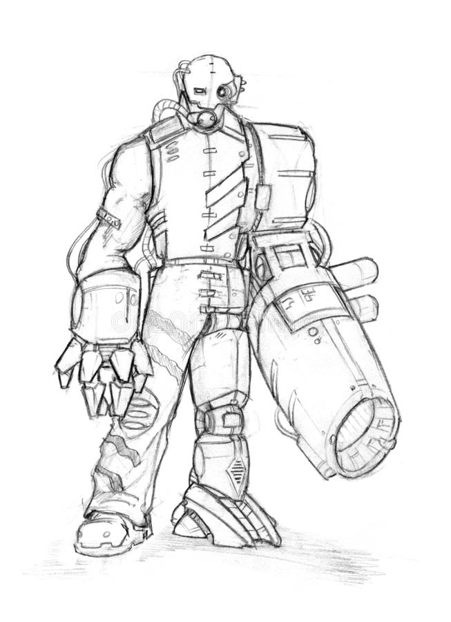 Black Grunge Rough Pencil Sketch of Cyborg With Gun Instead of Hand. Black and white rough pencil sketch of dangerous cyborg soldier or warrior. Man with robotic vector illustration