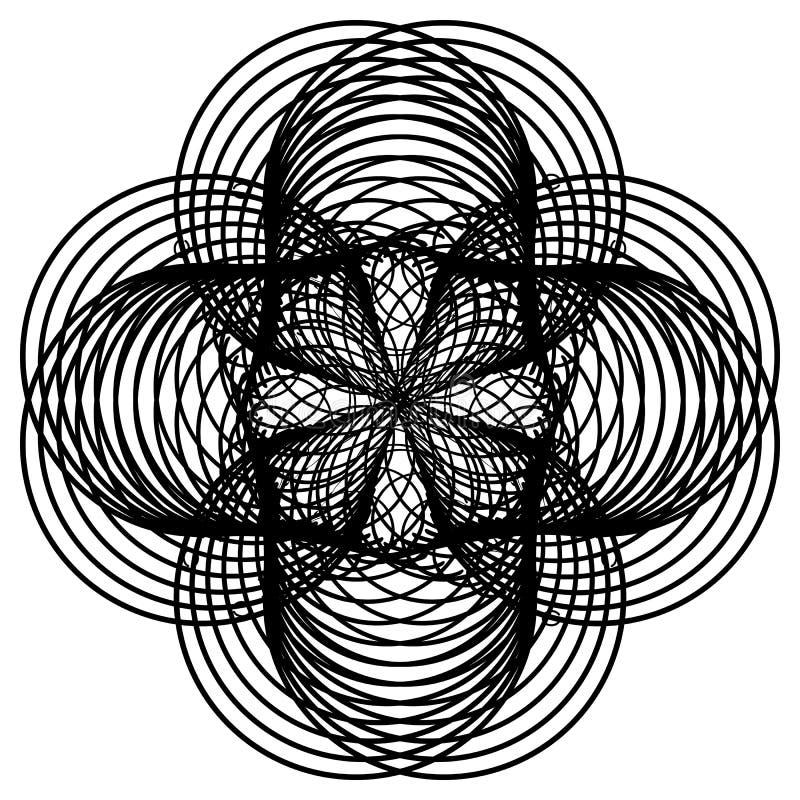 Black and white round guilloche elenent. Raster clip art. Black and white round rosette. Guilloche element for certificate or diploma, isolated. Raster clip art stock illustration