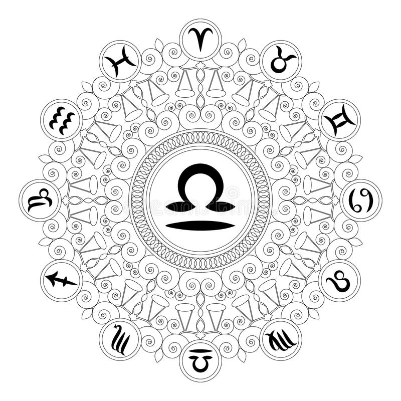 Black And White Round Mandala With Zodiac Symbol Of Libra