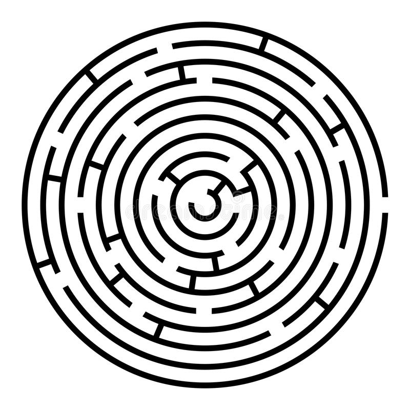 Black and white round maze royalty free illustration