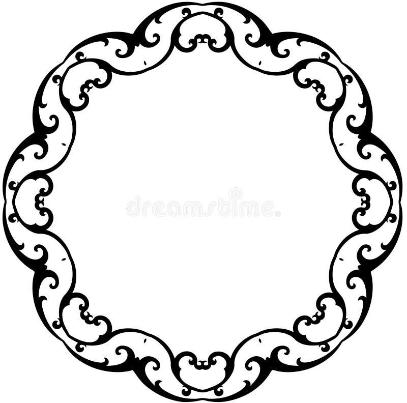 Black & White Round Scroll Frame royalty free illustration