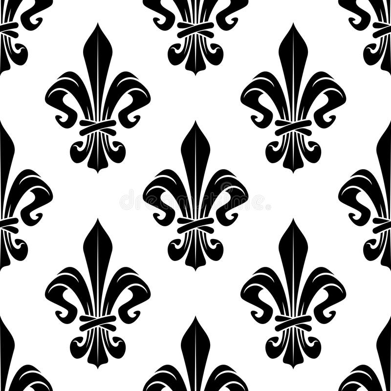 Black And White Royal Fleur De Lis Pattern Stock Vector
