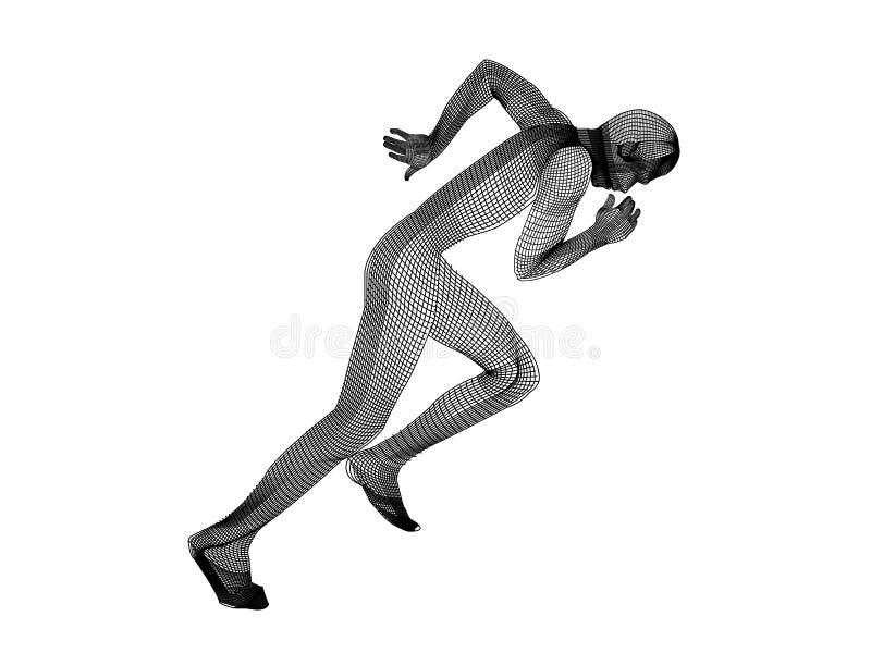 The mesh running man white vector illustration