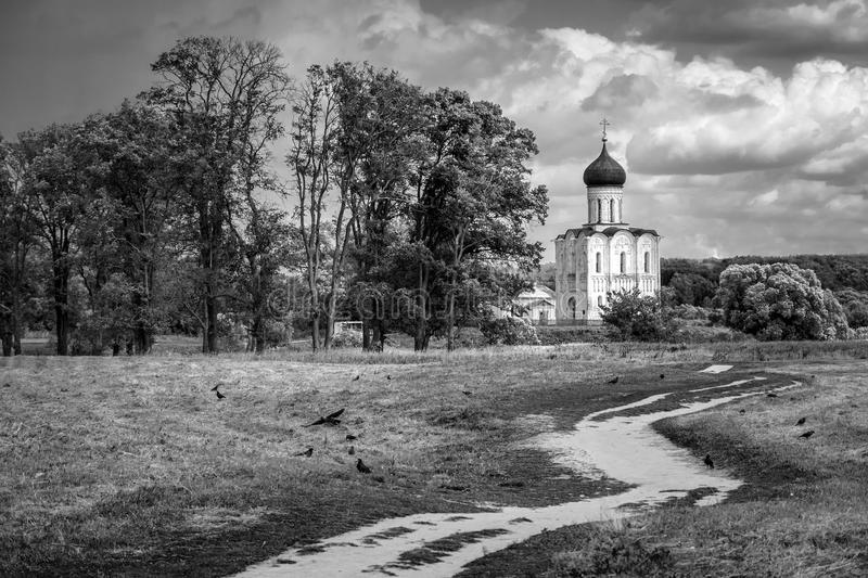 Black and white. Russian landscape. The Church of the Intercession on the Nerl. stock image