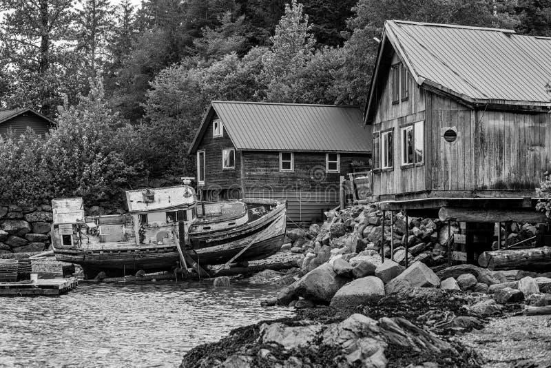 Black and White Rustic Alaskan Scene stock photos
