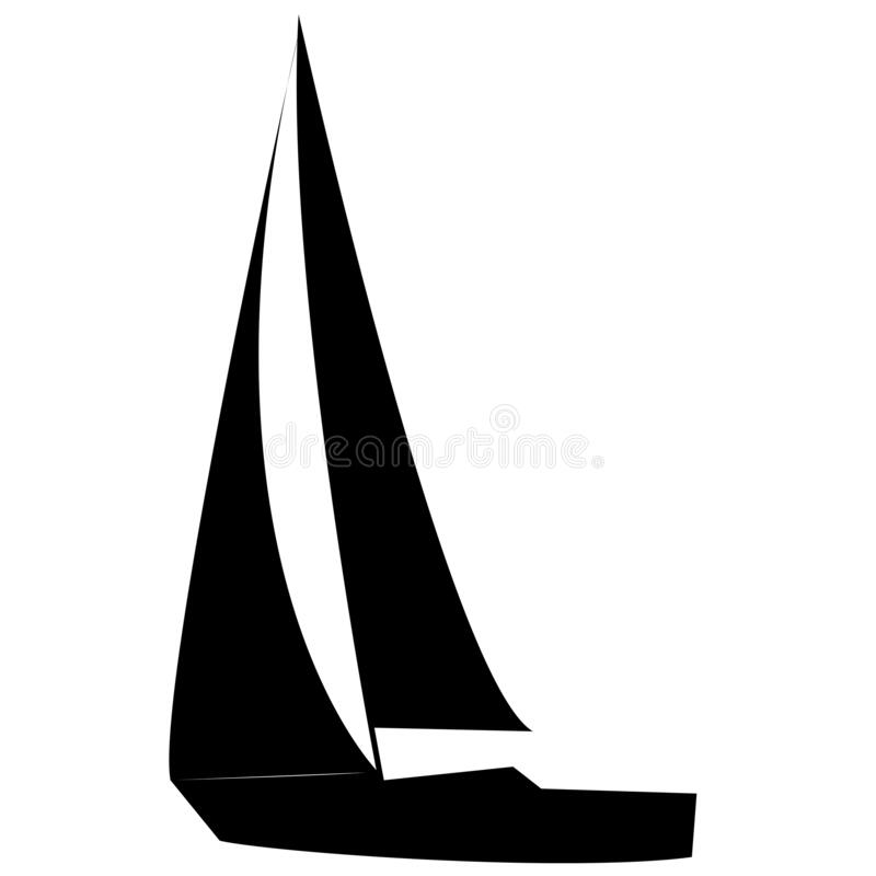 Free Black & White Sail Boat Silhouette Stock Images - 183655054