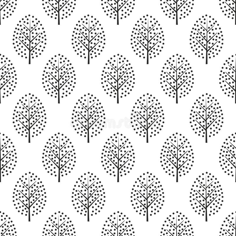 Black and white scandinavian style decorative trees seamless pattern. vector illustration