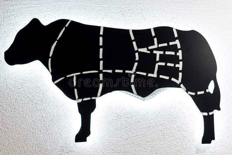 Black and white scheme of cutting cow royalty free illustration