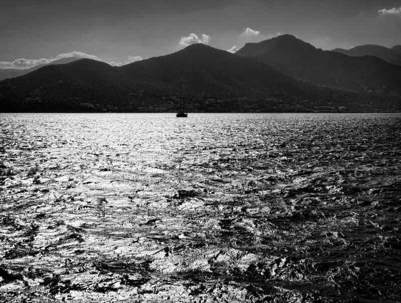 Black and white. Sea and Crete. Grece stock photos
