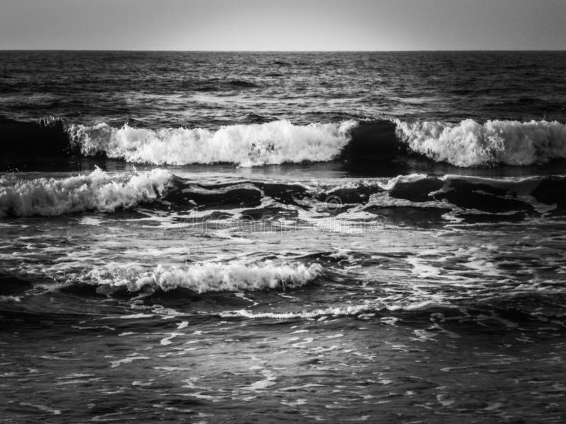 Black and white sea and waves. Ocean, water, bandw, blackandwhite, horizon, view stock photo