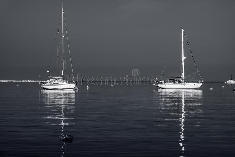 Black-and-white. Sea and yachts. Dubrovnik. Croatia. stock photos