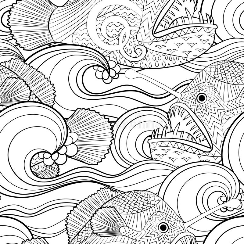 Black and white seamles oceanic pattern for coloring stock illustration