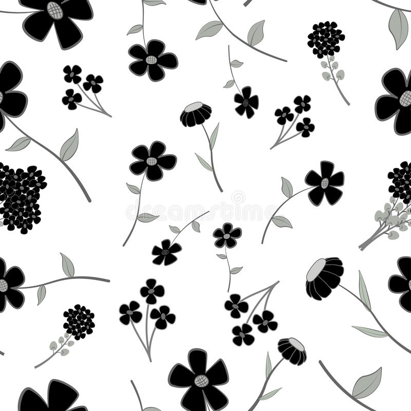 Download Black and White Seamless stock vector. Illustration of leaf - 26134317