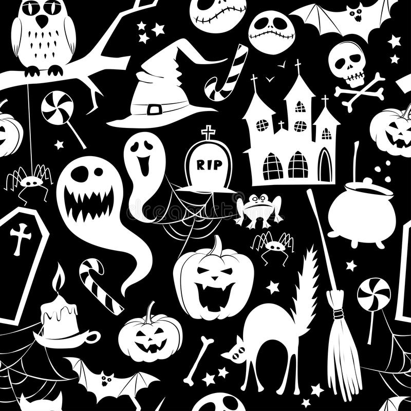 Black and white seamless background abstract pattern for halloween with pumpkin, candy, ghost, spider, bat, witch stock illustration